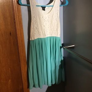 Lace and teal dress
